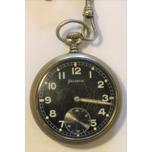 460 - DH marked Helvetia pocket watch. Serial D11252H. Plated case, worn, screw back with three tool inden...