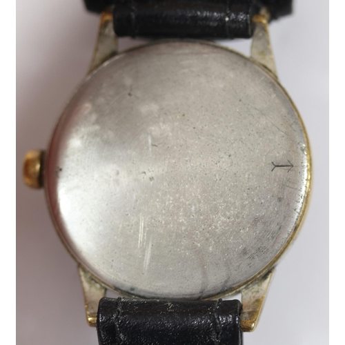 457 - Berg wristwatch. Plated case, brushed finish, considerable wear to plating, 35mm without crown. Fixe...