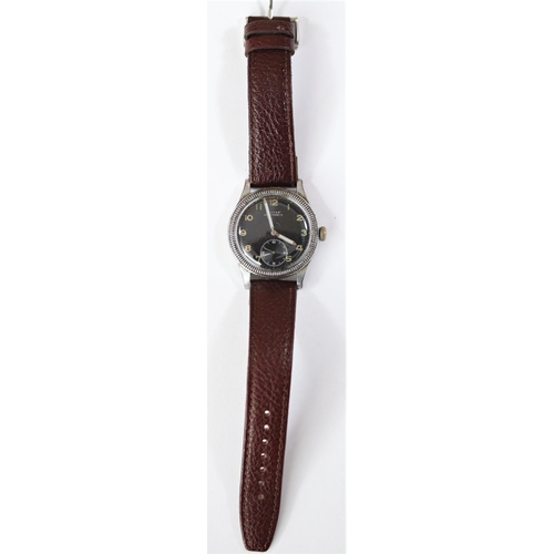 459 - Civitas aviators type wristwatch. Plated case, brushed finish, some light plating wear, coin edged b...