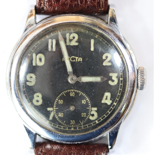 458 - Recta wristwatch. Serial 566310. Bright plated case, possibly refinished, 33mm without crown. Fixed ...