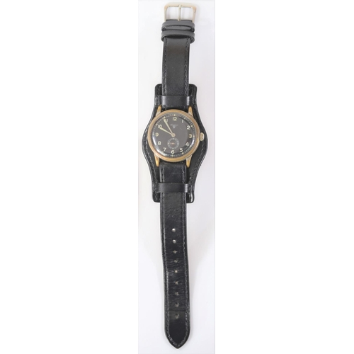 454 - Wagner wristwatch. Serial 671348. Plated case, brushed finish, considerable wear to plating, 35mm wi...