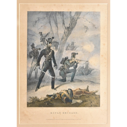 """403 - An Ackermann print """"Rifle Brigade"""", d 1841 mounted and framed by Ackerman & Son with their label on ..."""