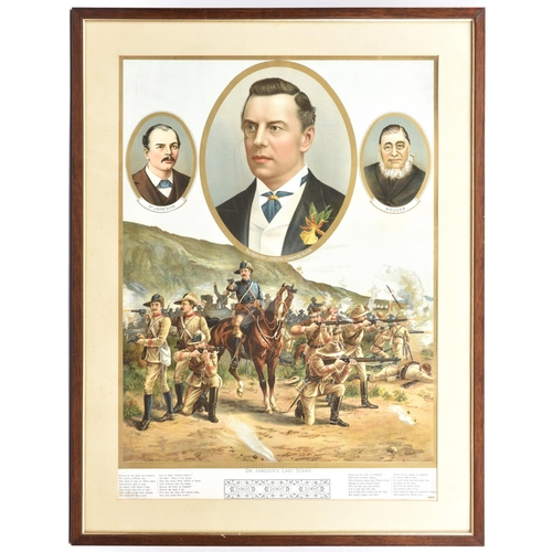 """404 - A coloured print """"Dr Jameson's Last Stand"""", showing the scene of battle with 3 oval vignettes above:..."""