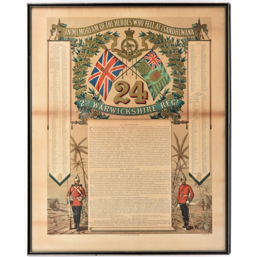 """405 - A colour printed muster roll """"in Memoriam of the Heroes Who Fell at Isandhlwana"""" with regimental dev..."""