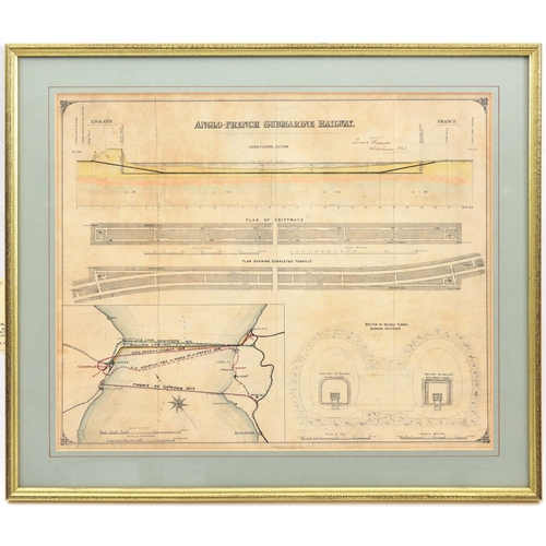 """406 - An interesting 19th Century hand coloured plan of the proposed """"Anglo French submarine railway"""" acro..."""