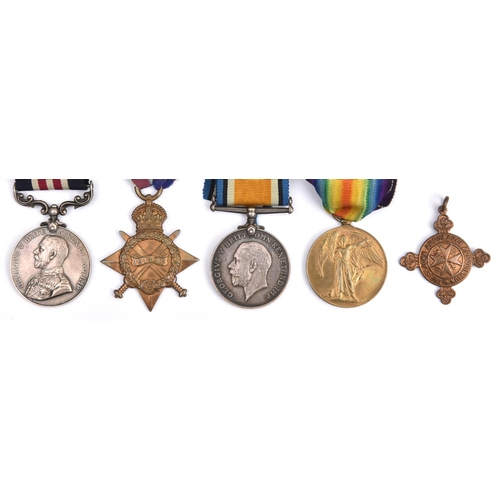 408 - Four: Military Medal, Geo V first type (12765 Gnr J. Muggleston, D.94/Bde R.F.A), 1914-15 star, BWM,...