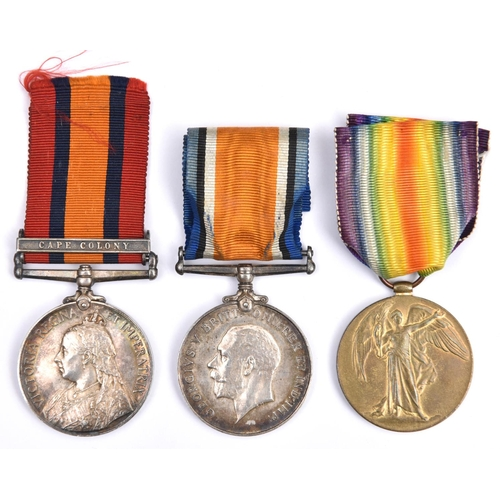 411 - QSA, 1 clasp CC (8198 Pte W. Male, Coldstm Gds), GVF, roll confirms single clasp. Pair: BWM, Victory...