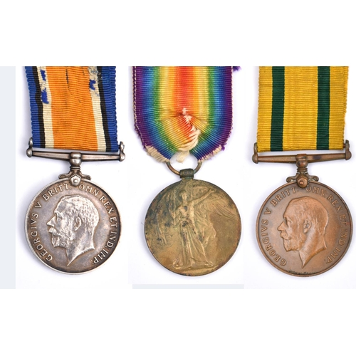 419 - Three: BWM, Victory, Territorial Force War Medal (512139 Spr W J Blair, RE), VF (Victory some stains...