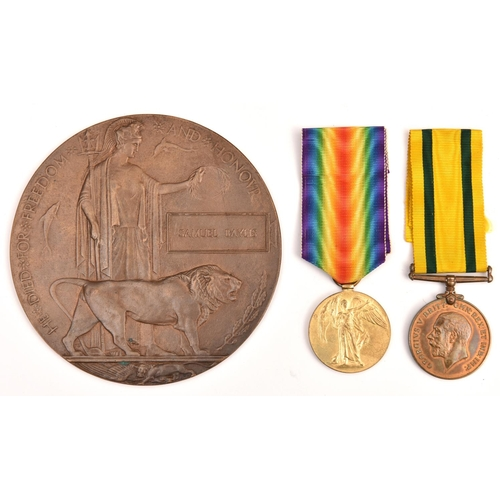 422 - Pair: Victory Medal, Territorial Force War Medal (830138 Bmbr S Baylis RA), VF, with memorial plaque...