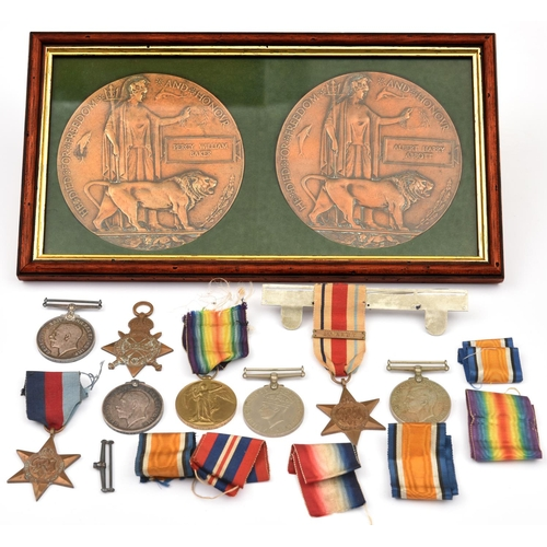 423 - WWI  Victory medal (3-8164 Pte P Baker, Dorset Regt) EF, with memorial plaque to Pte Percy William B...