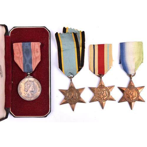 424 - WWII stars:  Atlantic, Air Crew Europe, Africa, VF-EF. ISM, EIIR issue (Samuel George John Reeves) N...