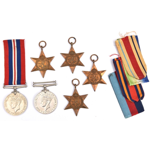 425 - WWII five:  1939-45, Atlantic, Africa, Burma stars, War Medal (un-named as issued) Average VF. 1939-...