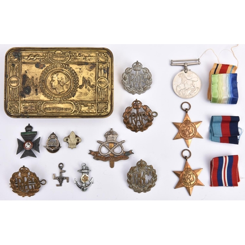 426 - Three:  1939-45 star, Africa star, War medal ( un-named as issued in Navy carton to JX195892 W Steph...