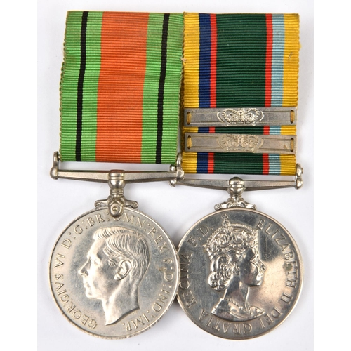 428 - Pair: Defence medal, Cadet Forces Medal, EIIR issue of 1954-1980 period (W.A.S. Lamb) with two addit...
