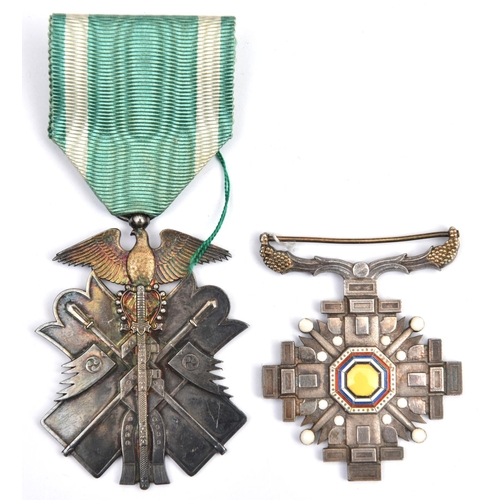 429 - Japan: Order of the Golden Kite, 7th class in silver NEF; Order of the Pillars of State, no bar, VF....