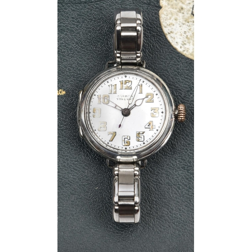 """446 - A WWI officer's silver Rolex Trench watch,  the dial with retailer's name """"Garmon, Torquay"""" (worn), ..."""