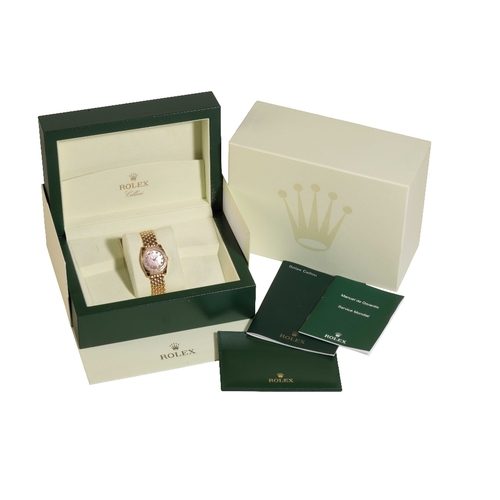 349 - ROLEX CELLINI LADIES 18CT GOLD BRACELET WATCH with Quartz movement, mother of pearl dial with diamon...