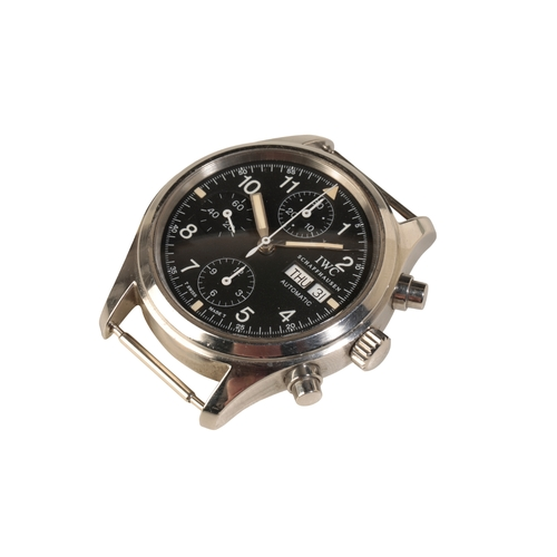 12 - IWC FLIEGER CHRONOGRAPH GENTLEMAN'S PILOT WATCH with stainless steel case automatic movement black d...