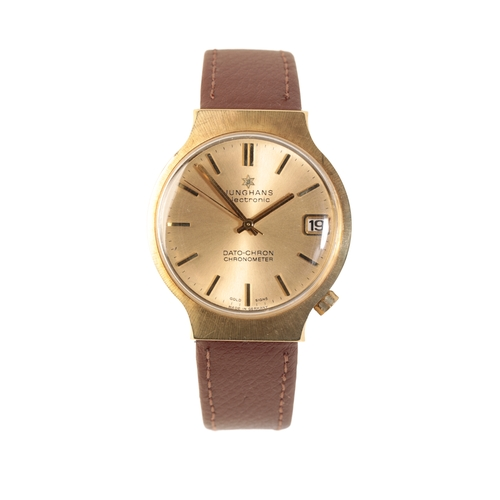 15 - JUNGHANS 14CT GOLD ELECTRONIC DATO-CHRON GENTLEMAN'S WRIST WATCH the gold dial with gold baton numer...