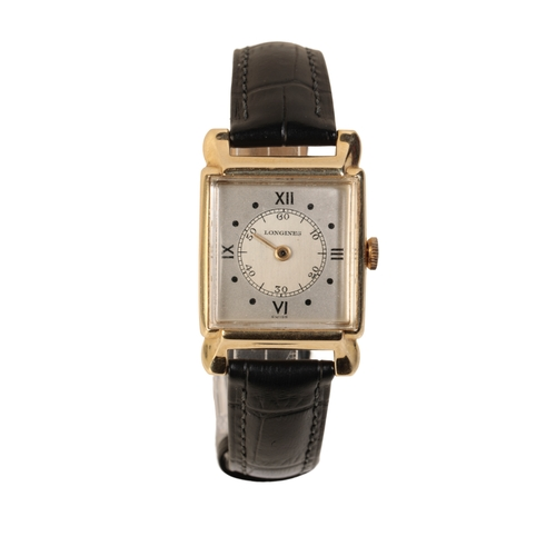 20 - LONGINES GOLD PLATED GENTLEMAN'S WRIST WATCH with rectangular case and manual wind movement the silv...