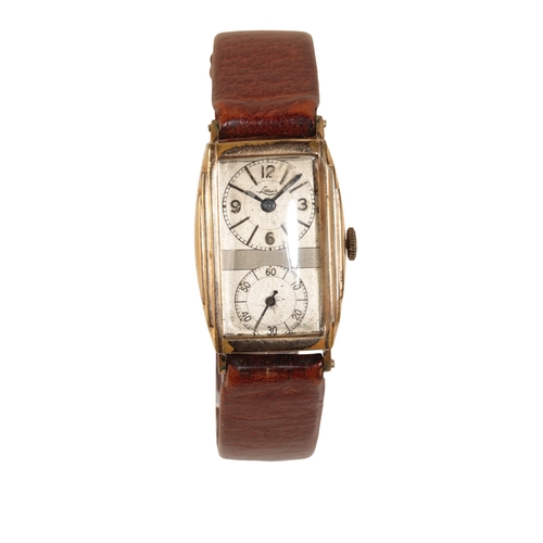 23 - LOUIS PICARD GOLD PLATED GENTLEMANS WRISTWATCH the rectangular case with manual wind movement two to...