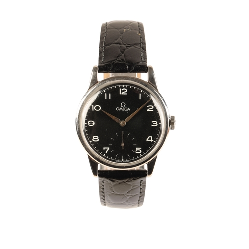 34 - OMEGA GENTLEMAN'S STAINLESS STEEL WRIST WATCH with manual wind movement black dial white Arabic nume...