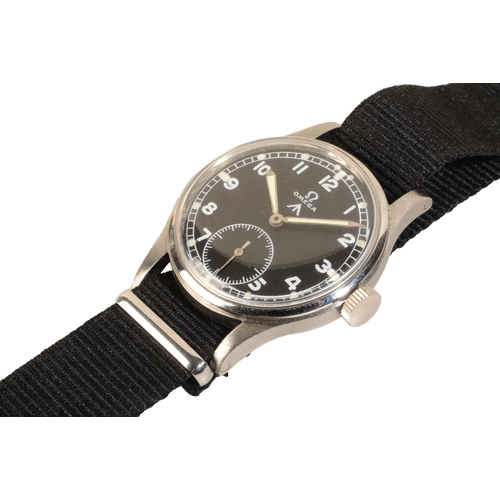37 - OMEGA BRITISH MILITARY STAINLESS STEEL WRIST WATCH (one of the Dirty Dozen) with manual wind movemen...
