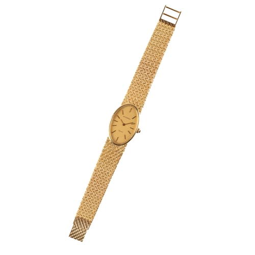 4 - BUCHERER 18CT GOLD LADY'S BRACELET WATCH with quartz movement gold dial gold baton numerals and gold...