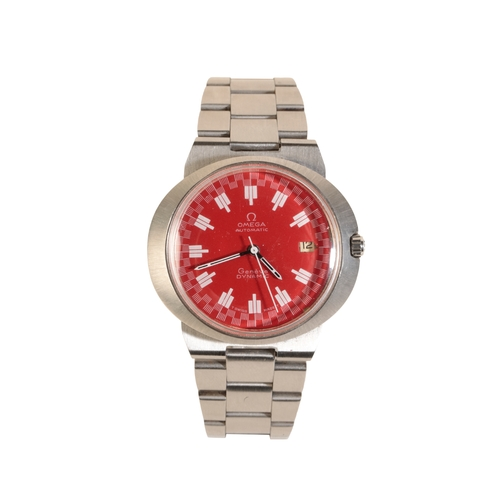 47 - OMEGA GENEVE DYNAMIC GENTLEMAN'S STAINLESS STEEL BRACELET WATCH with automatic movement the red dial...