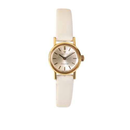 51 - OMEGA LADY'S GOLD PLATED WRIST WATCH with automatic movement the silver dial with gold baton numeral...