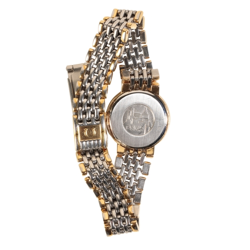 52 - OMEGA DEVILLE LADIES GOLD PLATED AND STAINLESS STEEL BRACELET WATCH with quartz movement the gold di...