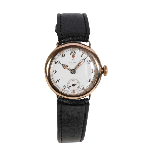 49 - OMEGA 9CT GOLD GENTLEMAN'S WRISTWATCH the white enamel dial with black Arabic numerals and subsidiar...