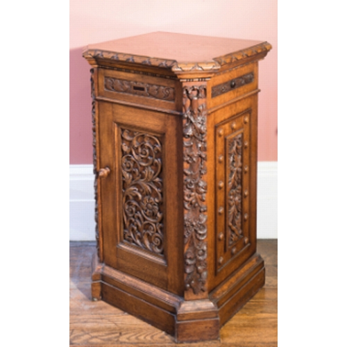 6 - A PAIR OF CARVED OAK DINING ROOM PLATE CABINETS, BY HOLLAND & SONS, second quarter 19th century, mod...