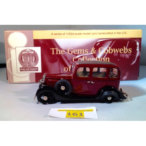 161 - Milestone Gems and cobwebs 1:43 VM2 Vauxhall light six saloon standard maroon and black mint conditi...