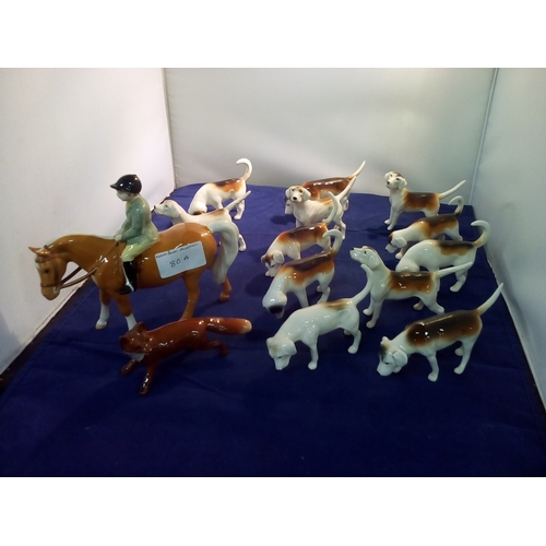 80A - Beswick Hunt; Boy on horse, ten hounds and fox....