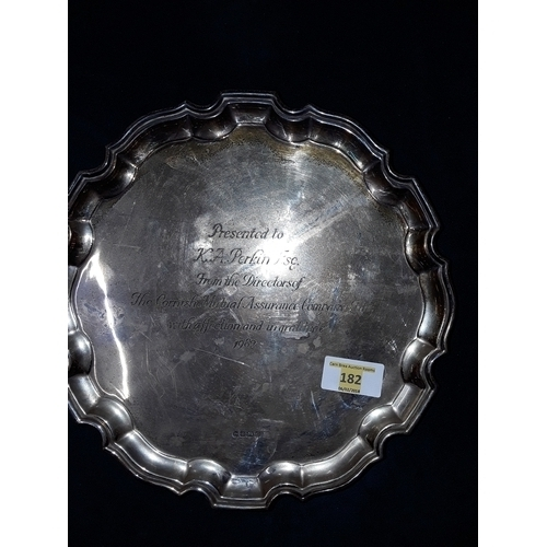 179 - Silver commemorative platter, engraved...