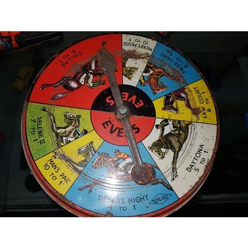 8 - Vintage tinplate horse game...