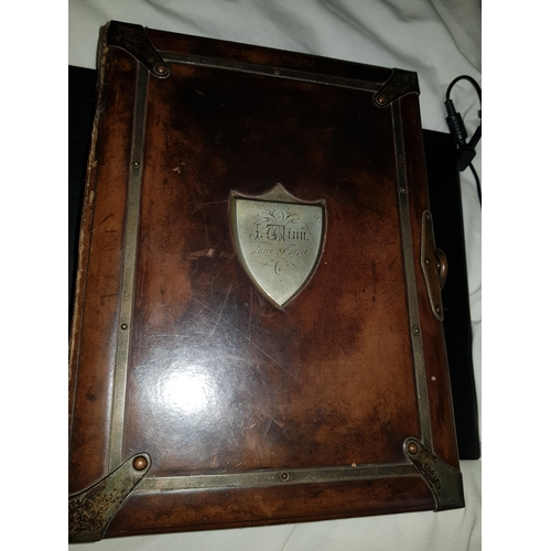 2 - 1839 Victorian leather photo album with latch...