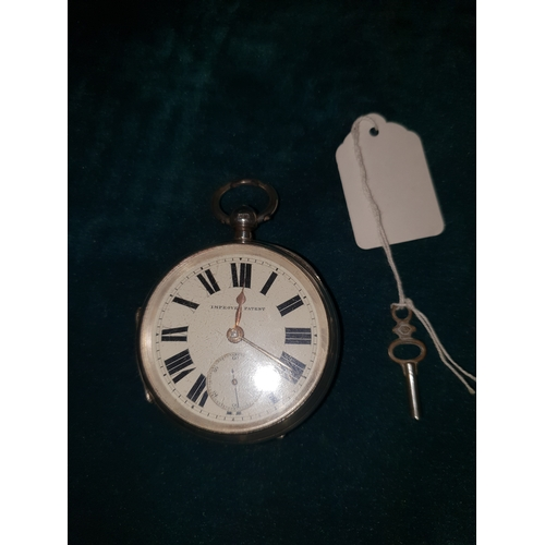 232 - J H Harris & sons London & Manchester 1856 Chesterfield Silver hall marked pocket watch GWO with key...