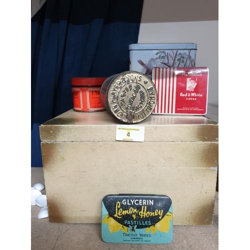 4 - Vintage tins and box...