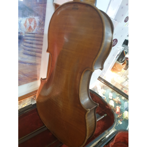 63 - Rare 1750's Violin in coffin case with two bows by Dukes of London...