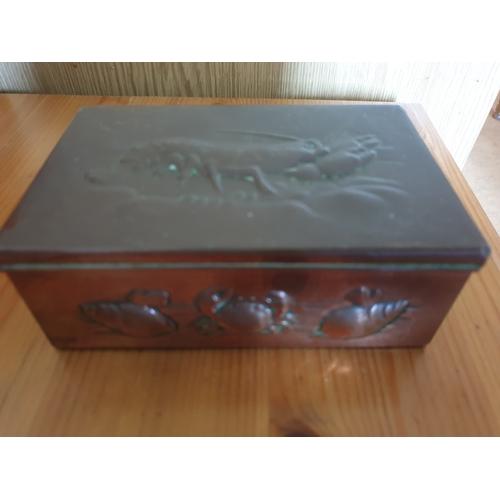 33 - Newlyn Copper trinket box Lobster lid...