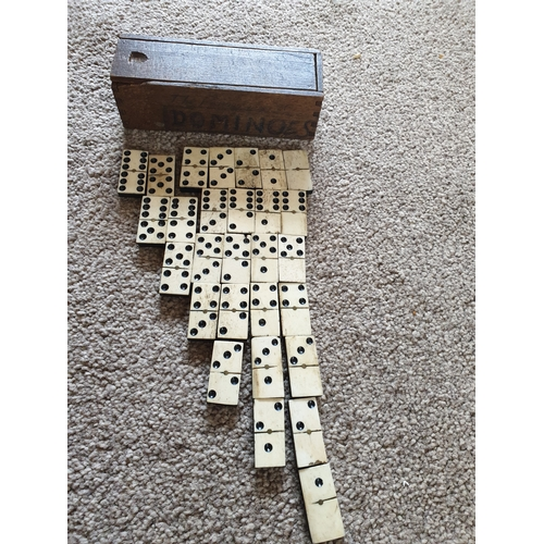 6 - Vintage ebony & bone domino set...
