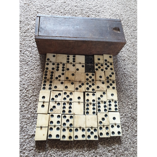 7 - Vintage ebony & bone domino set...