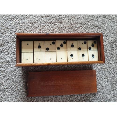9 - Vintage ebony & bone domino set...