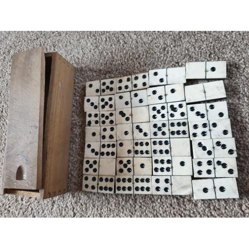 10 - Vintage ebony & bone domino set...