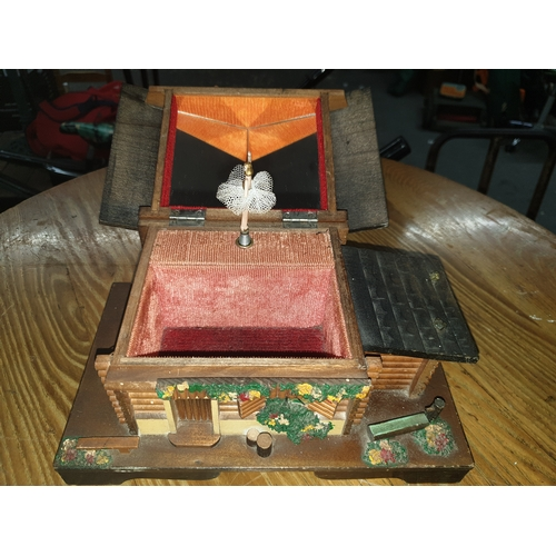 12 - Vintage Black Forest large chalet Music Box...