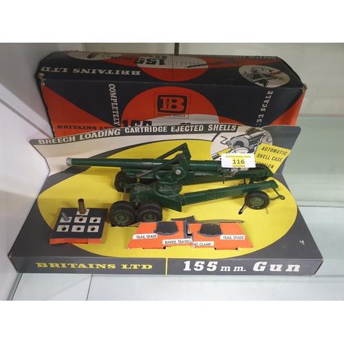 116 - Britains Ltd. 155mm Gun. Cat No: 9745. 1962 Model.In good Condition