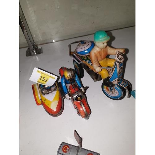 151 - 2 x Tinplate Clockwork bikes