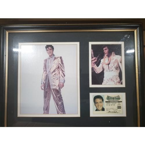 11 - Elvis driving licence framed pictures...